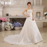 Train wedding dress 2014 slim tube top wedding dress formal dress bandage paillette lace train tube top wedding dress