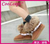 Free shipping half ankle short natural real genuine leather flat boots snow warm shoes CooLcept R4877 EUR size 34-43
