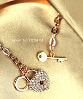 2014 Hottest New Arrival Full Rhinestone Heart Lock  BraceletS Rose Gold plated genuine female bracelet accessories