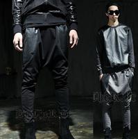 EXO moletom Drop crotch pants men sports health harem pants patchwork PU leather pocket rock trousers 2014 Harajuku punk men