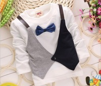 Fall Fashion Toddler Baby T Shirt False 2pcs Bowknot Gentleman Children Boy T Shirt Kids T-shirts Small Child Clothing GX771