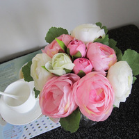 (10 heads/bunch) Silk / Simulation / Artificial flower Camellia Romantic,pink Wedding/Bridal bouquet