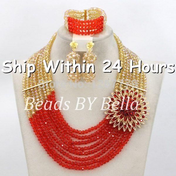 Fashion Gold Orange Women African Party Jewelry Set African Jewelry Set Gold Plated Wholesale Free Shipping