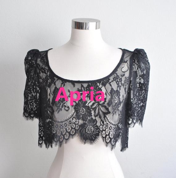 New 2014 O-Neck Short Sleeves Black Lace Bridal Bolero Wrap Jacket Shawl Prom Wedding Accessories Women A475(China (Mainland))
