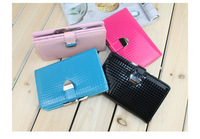 Fashion japanned leather candy bright color small plaid women's short design wallet free shipping