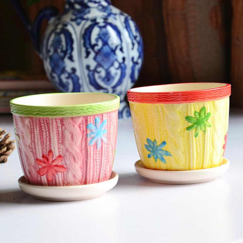 DE 1pc 10cm High quality porcelain Modern gardening ceramic potted succulents balcony flower pot plant windows counte(China (Mainland))