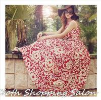 2014 New Bohemian Floral Dress sleeveless Long Chiffon Rose Dress Waist Thin Slim Holiday Beach Dress