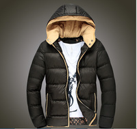 Men Thick Warm Winter Casual Coat Double-deck  Hooded  Solid Color  Rib Sleeve  Zipper Cotton Jacket  MC018Z
