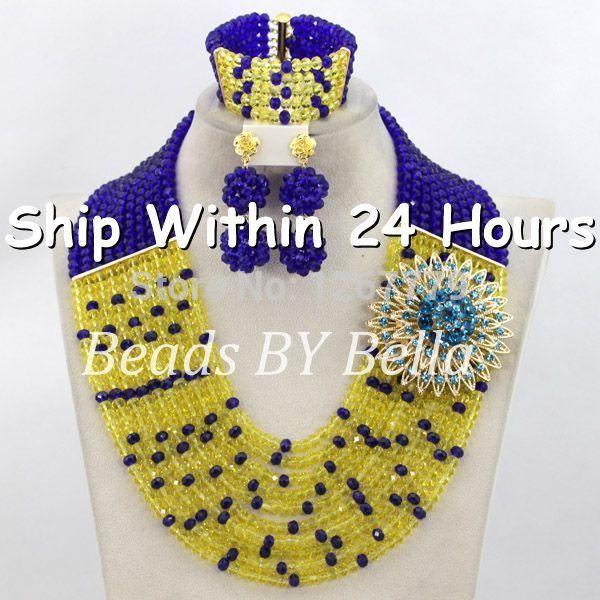 Latest New Blue Lemon Yellow Nigerian Beads Jewelry Set African Wedding Crystal Jewelry Set Free Shipping