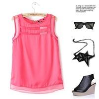 2014 European Style Fashion Shirts Chiffon T-Shirt Short Sleeveless O-Neck zipper All-match Solid Hollow Out Summer Women CL1821
