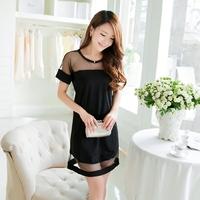 Plus size clothing ol one-piece dress fashion short-sleeve chiffon female basic slim hip print short skirt