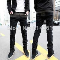 2014 Hot Mens Designer Famous Brand Autumn Cotton Low-waist Pencil Pants Vintage Classic Men Skinny Jeans Free Shipping