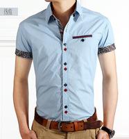New 2014 Italian Dress shirts Mens Blouses Short-sleeve Casual Shirt Slim Fit Chemise Homme