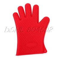 Red Pot Holder Cooking Baking Oven Heat Resistant Silicone Glove Mitts