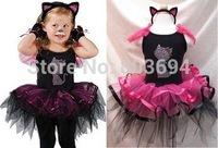 Hot retail baby girls Cat dancing dress ,tutu dress with Headdress for Christmas free shipping D-01