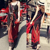 New 2014 Summer Women Dress Spaghetti Strap Sleeveless Fashion Holiday Beach Bohemian Long Maxi Dresses Plus Size XS-XL 65704
