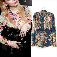 Hot Sale Fashion Vintage Floral Print Pattern Chiffon Blouse Women Long Sleeve Shirt Tops 2 Colors Drop Shipping WBS003