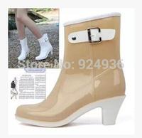 Free Shipping Women Fashion Rain Boots Female Short High-Heeled Boots Buckle Rain Shoes Water Shoes Rubber Shoes For Woman