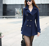 D-225 2014 spring new arrival Korean slim elegant double-breasted lapel solid long sections high-quality woolen women coats