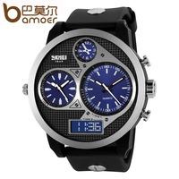 High Quality SKMEI Genuine PU Leather Waterproof Watches With Calendar Quartz Analog Wrist Watch Fashion Men Watches