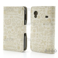 Free shipping Leather Stand Case Multiple Graffitti Cartoon for Samsung Galaxy Ace S5830