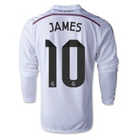 #10 JAMES 2015 Best Thai Quality Real Madrid Long Sleeve 14 15 Jersey Home Ronaldo away pink bale SERGIO RAMOS Soccer jersey