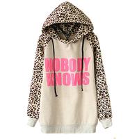 Hot Hoodies Sports Sweatshirt Autumn Fashion Women NOBODY KNOWS Print Hooded Leopard Casual Sweatshirt LBR1368 Free Shipping