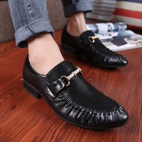 Free Shipping Solid dress  Leather Shoes Men Fashionable Business Shoes Lace-up Wingtip Black Top Quality Size 39-44