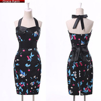 New Grace Karin AL09 Print Cotton Bandage 50s Short Evening Vintage Dresses CL4590-6#
