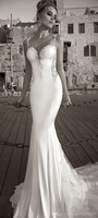 New Custom Made Scoop Neck Sheath Open Back Sexy Long Train Wedding Dress Pleat Free Shipping Wedding Dresses Mermaid Sexy
