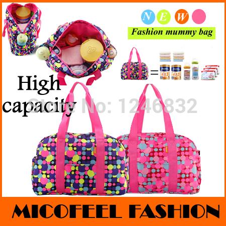 2014 Fashion Zipper Dot maternity bag Outdoor nappy bags Medium tote baby shoulder diaper bags Light mam baby carriage bag(China (Mainland))