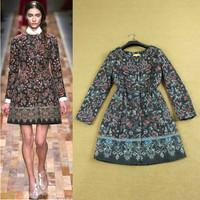 2014 Fashion Winter Jacket Coat Women Elegant Vintage Mosaic Runway Day Womens Print Dresses