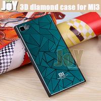 Freeshipping 3D Diamond Metal Xiaomi Mi3 case Back cover for Mi3 M3 Five colors options