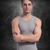 Germanium titanium silver thread male  body shaping underwear fitness vest
