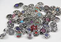 12pcs/lot New fashion wholesale women beautiful enemal DIY rhinestone snap button Fit Ginger Snap button charm