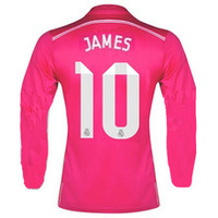 #10 JAMES 2015 Best Thai Quality Real Madrid Long Sleeve 14 15 Jersey  away pink bale SERGIO RAMOS Soccer jersey