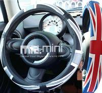 2014 Wholesale Gray or RedWhite Sport Soft Anti-slip Auto Car Steering Wheel Cover Union Flag Cap For Mini one/cooper