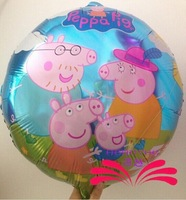 Cartoon Balloons Peppa Pig Printed Shaped Party Supply Aluminum Foil Balloons Birthday Balloons 18 inch 45x45cm 10pcs/lot