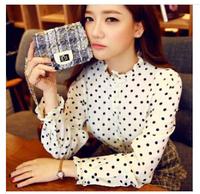New summer wear women's clothing han edition show thin render long-sleeved shirt sweet leisure summer wave shirt