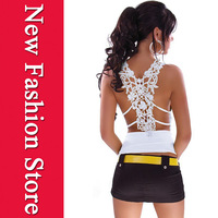 New 2014 Women Summer Ladies Sexy Tank Top Ruffle V Neck with Sexy Embroidery Hollow Out Back White LC25065 t-shirt women