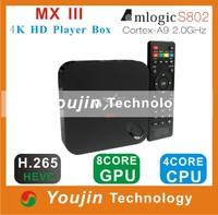 2014 MX III Amlogic S802 Quad Core TV Box XBMC Gotham 13.1 Android 4.4 Kitkat Wifi 1G Ram 8G Rom 4K M8