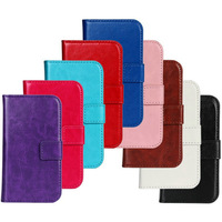 100Pcs/Lot Crazy Horse Leather Wallet Case Cover with Stand For Samsung Galaxy S Duos S7562