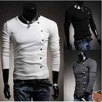 Hot Sales!New Arrival High Quality Men's T-shirt Solid Color Neck Casual T-shirt Fashion Long-sleeved T-shirt 3 Colors