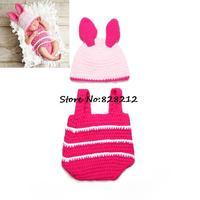 Free Shipping 1set Infant Baby Crochet Photography Props Handmade Newborn Lovely Rabbit Beanies Hats And Shorts Set MZS-14050