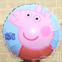 Birthday Balloons Peppa Pig Printed Party Supply Balloons Cartoon 18 inch 45x45cm Aluminum foil balloons 10pcs/lot