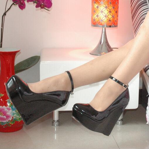 free shipping 2014 fashion Leather platform Crossdresser Shoes Big plus size 40-46 women's high heel(China (Mainland))