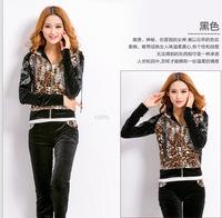 2014 autumn fashionable casual leopard print quality velvet gold velvet sports set velvet