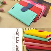 2014 Korean Original MERCURY Goospery Double Color Leather Flip Case Cover for LG Optimus S G2 F320S / D802 Hybird Shell