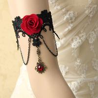 Handmade Armband Rhinestone Drop Red Flower Chain Black Lace Arm Band Armlet Bracelet Dance Gothic Jewelry Retro FREE shipping