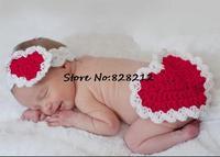 Red Heart Love Design Infant Baby Handmade Knit Photo Props Infant Crochet Hat Beanie Newborn Hairband+Diaper Set 1set MZS-14052